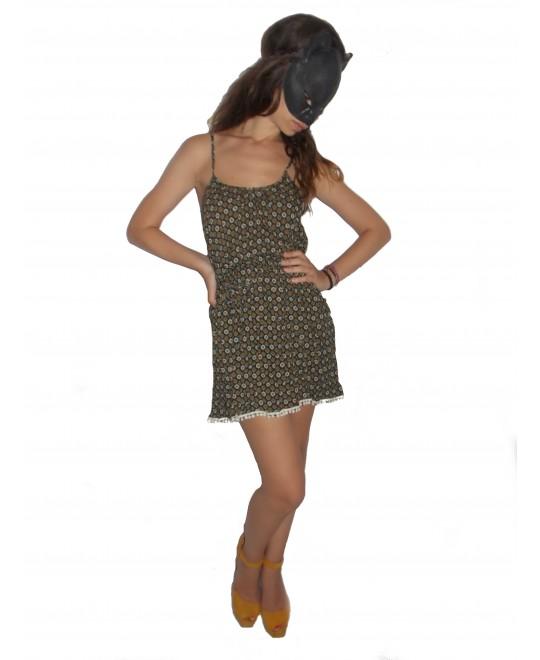 Κοντό Βαμβακερό Φόρεμα με Τσέπες και Pom-Pom στο τελείωμα