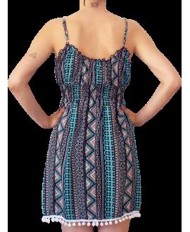 Κοντό Βαμβακερό Φόρεμα με Pom-Pom στο τελείωμα
