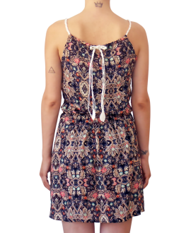 Κοντό Ρεγιόν Φόρεμα με Λευκή Τιράντα Πλεξίδα