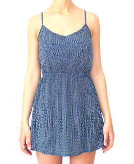 Κοντό Βαμβακερό Φόρεμα με Ανοιχτή Πλάτη