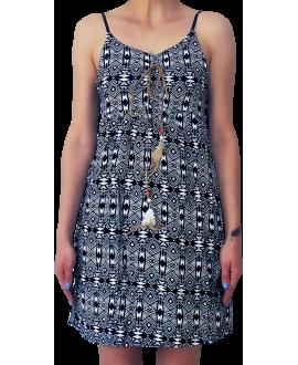 Κοντό Ρεγιόν Φόρεμα με Τιράντα και Κορδόνι με Φτερό
