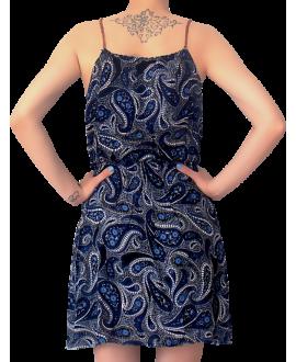 Κοντό Ρεγιόν Φόρεμα με Καφέ Τιράντα Πλεξίδα