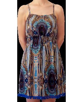 Κοντό Βαμβακερό Φόρεμα με χρωματιστά Pom-Pom στο τελείωμα