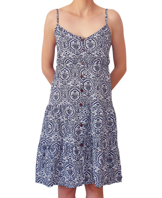 Κοντό Βαμβακερό Φόρεμα με Κουμπάκια